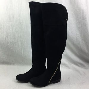 NEW Report Knee High Boots NIB Black Suede Heels